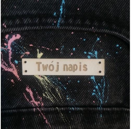 10 Szt - Wszywki z Własnym napisem - Prostokątne Z Dziurkami