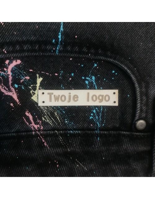 10 Szt - Wszywki Z Twoim Logo - Prostokątne Z Dziurkami