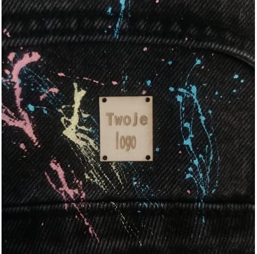 10 Szt - Wszywki Z Twoim Logo - Kwadratowe Z Dziurkami