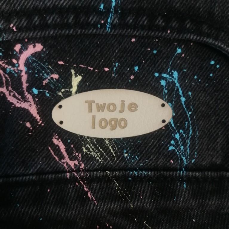10 Szt - Wszywki Z Twoim Logo - Owalne Z Dziurkami